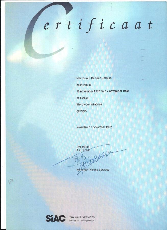 1992 - SIAC Word voor Windows certificaat