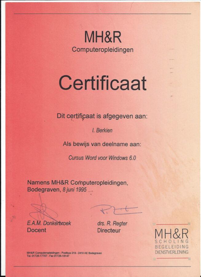 1995 - MH 7 R - Word voor windows 6.0 certificaat