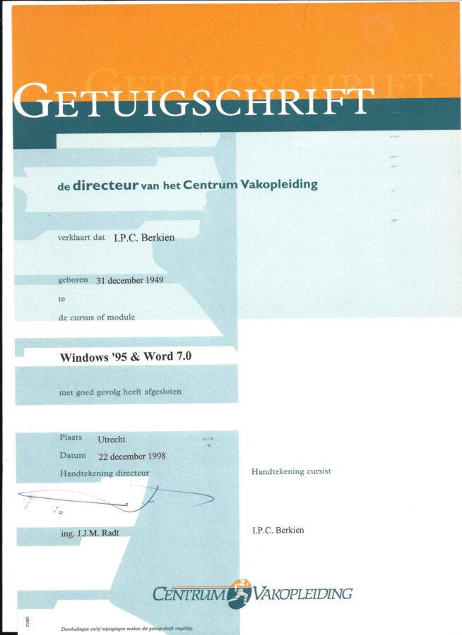 1998 - Centrum Vakopleiding - Windows 95 en word 7.0 getuigschrift