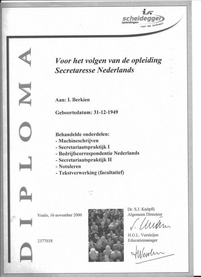 2000 - Scheidegger Secretaresse diploma-1