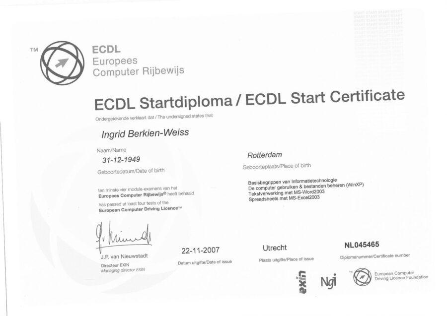 2007 - Start diploma Europees Computer rijbewijs-1