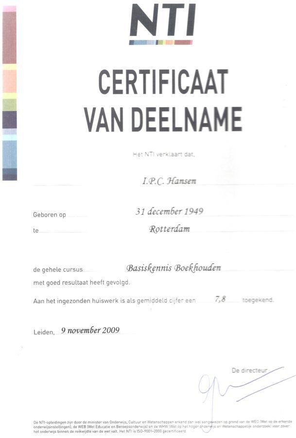 2009 - Boekhouden basiskennis certificaat