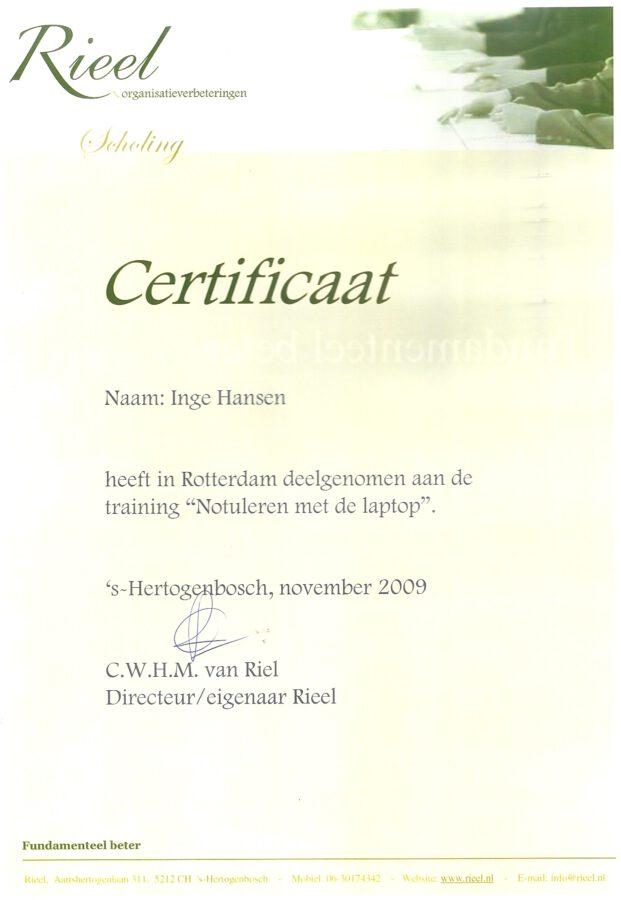 2009 - Notuleren met de laptop certificaat