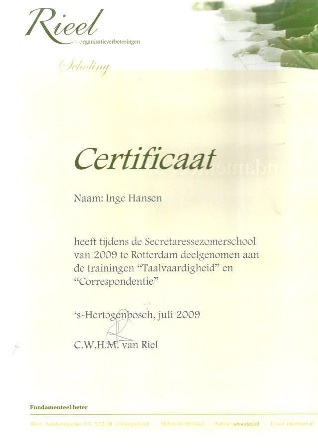 2009 - Taalvaardigheid en correspondentie certificaat