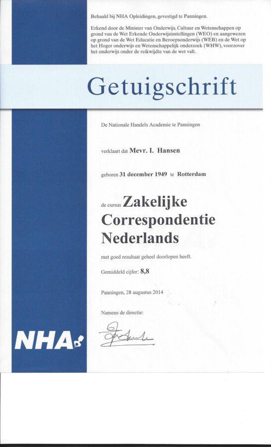 2014 - Zakelijke Correspondentie Nederlands getuigschrift