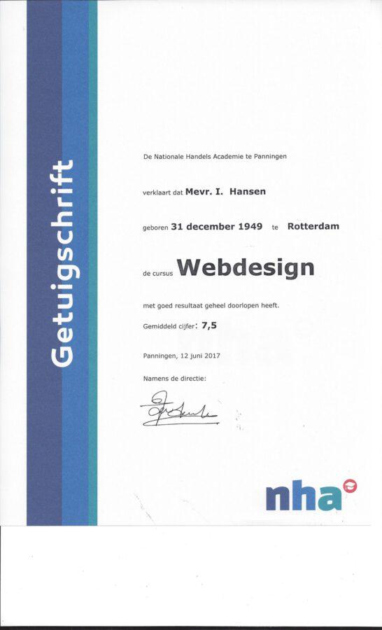 2017 - Getuigschrift Webdesign
