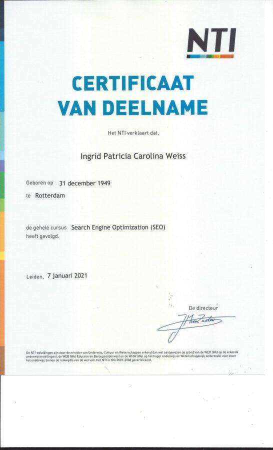 2020 -NTI- SEO certificaat